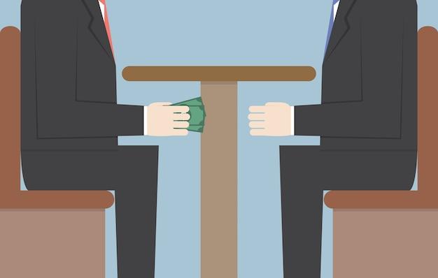 Zwei geschäftsmänner, die geld unter der tabelle führen