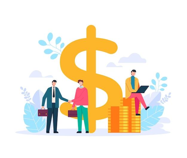 Zwei geschäftsmann büroangestellte charaktere händeschütteln und deal vertrag. finanzielles investitionskonzept. vektor flache grafikdesignillustration