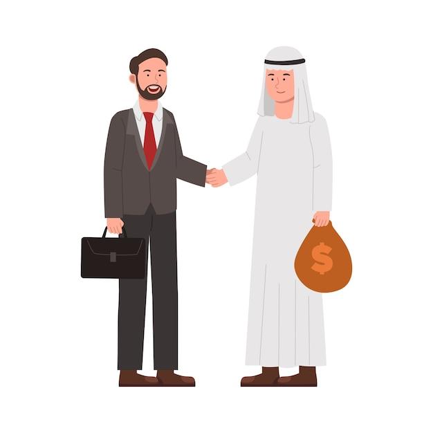Zwei geschäftsmann, der mit geld für invest cartoon handelt
