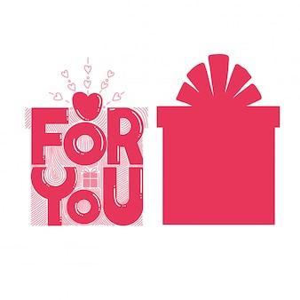 Zwei geschenkboxen - eine mit dem text for you, eine andere boxform. separates element