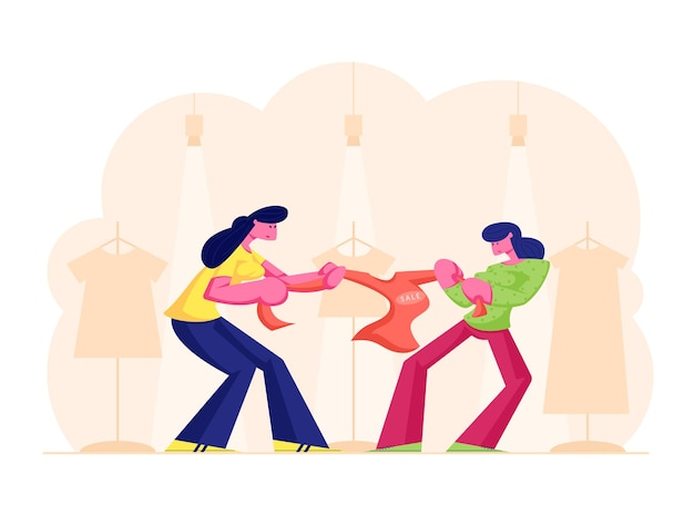 Zwei gierige mädchen kämpfen für rote jacke im kaufhaus. karikatur flache illustration