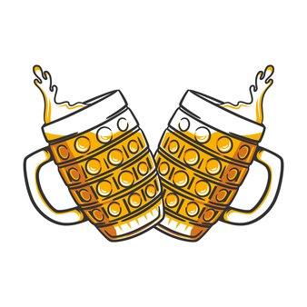 Zwei gläser bierillustration