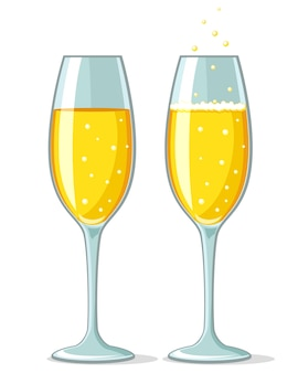 Zwei gläser champagner mit schaum und ohne auf weißem hintergrund.