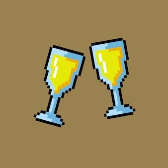 Zwei gläser toast im pixel-art-stil