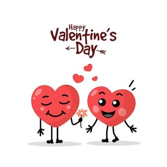 Zwei glückliche herzen. cartoon herz alles gute zum valentinstag