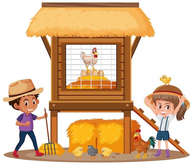 Zwei glückliche kinder und hühnerstall auf weißem hintergrund