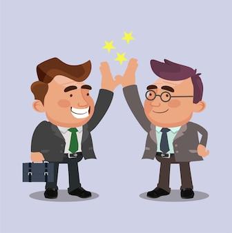Zwei glückliche lächelnde büroangestellte-charaktere hoch fünf
