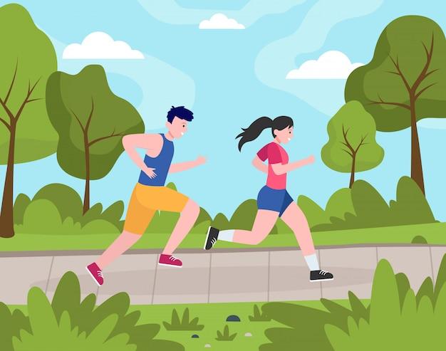 Zwei glückliche leute, die im park joggen