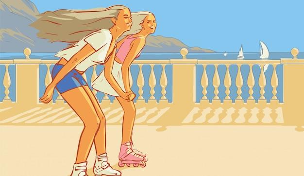 Zwei glückliche mädchen, die auf der promenade von meer rollerblading sind