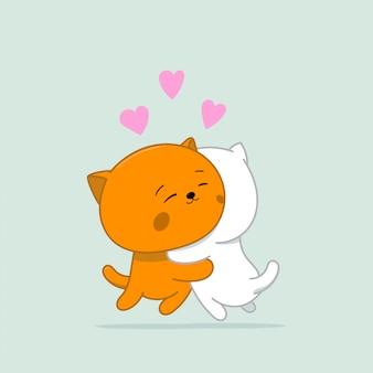 Zwei glückliche und liebevolle kawaii-katzen. illustration