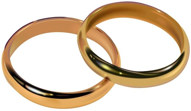 Zwei goldene eheringe, die zusammen ruhen