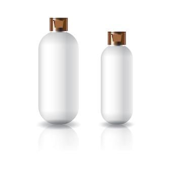 Zwei größen der weißen ovalen runden kosmetischen flasche mit kupfernem kappendeckel.