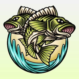 Zwei große bassfische springen auf dem wasser.