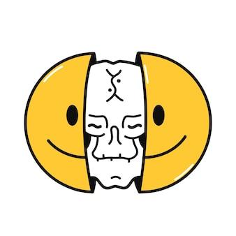 Zwei hälften des lächelns mit dem totenkopf im inneren