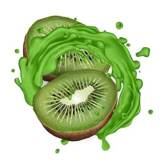 Zwei hälften kiwi und ein grüner saft spritzen