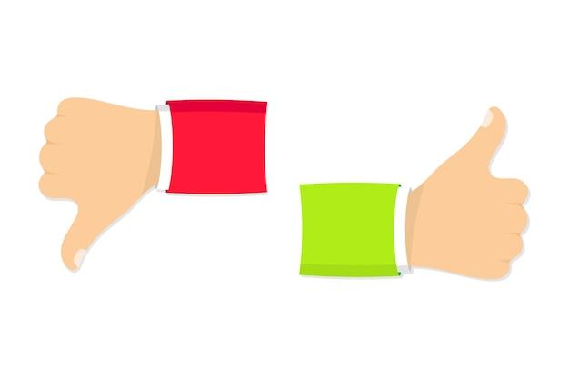 Zwei hände daumen hoch und runter wie abneigung symbole für soziales netzwerk handsymbol auf weißem hintergrund