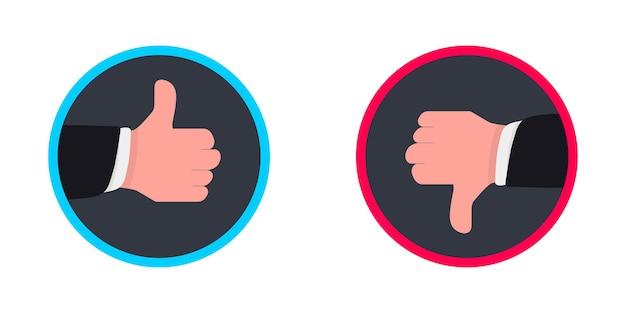 Zwei hände daumen hoch und runter. wie abneigungen von symbolen für soziale netzwerke. handsymbol auf weißem hintergrund
