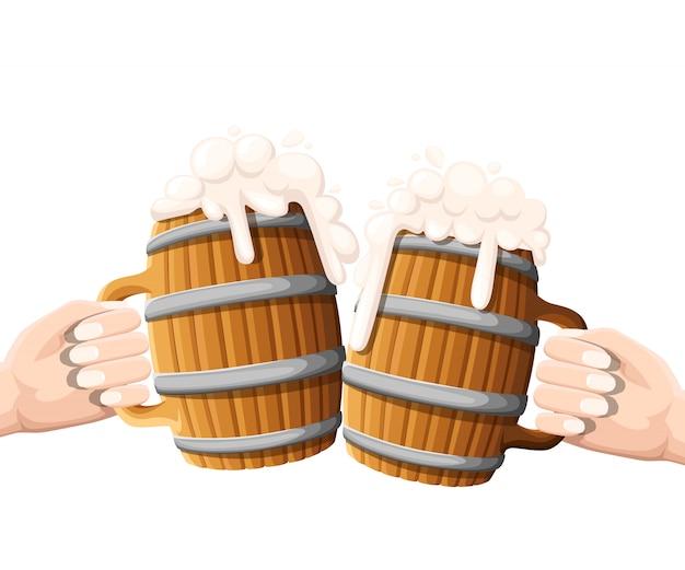 Zwei hände, die bier im hölzernen becher mit eisenringen halten. konzept des bierfestivals. illustration auf weiß.