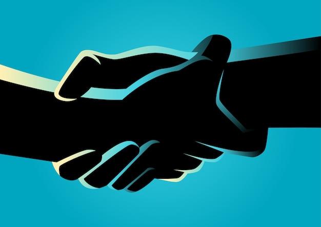 Zwei hände, die sich stark halten