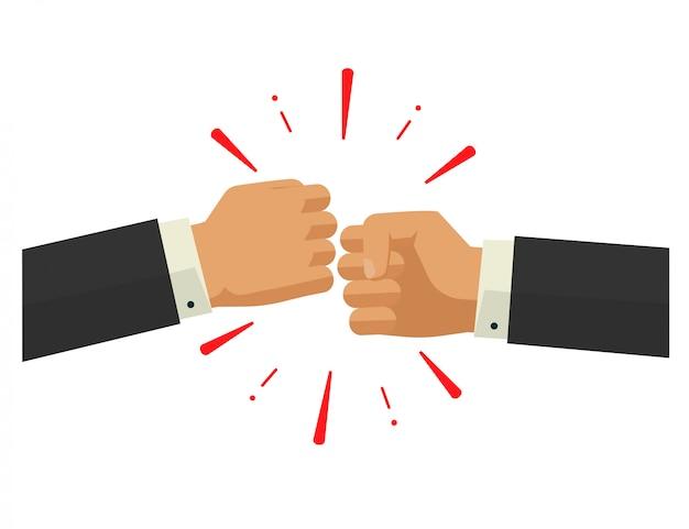 Zwei hände, die vektorillustration im flachen design stoßen oder lochen