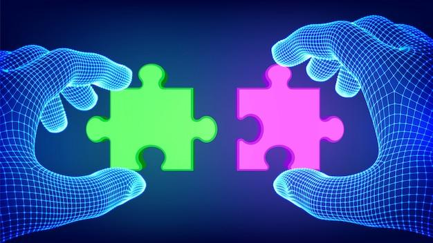 Zwei hände, die versuchen, ein paar puzzleteile zu verbinden. rote und grüne puzzleteile als symbol für assoziation und verbindung. teamwork-konzept.