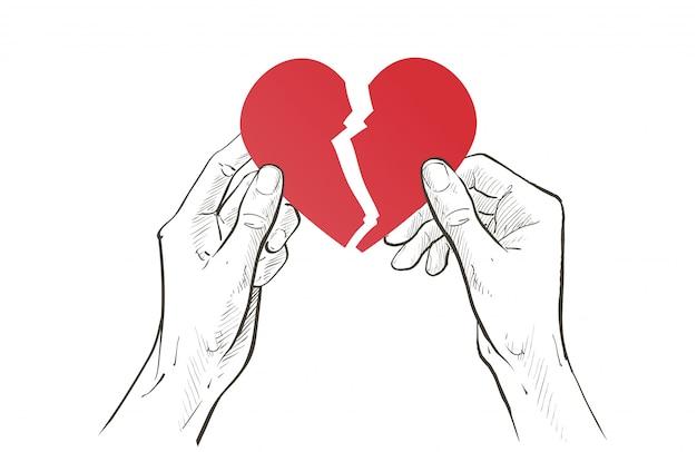 Zwei hände halten zerreißendes rotes herz in zwei hälften. gebrochene beziehung, traurigkeit frustration, single, trennungskonzept. skizze linienillustration