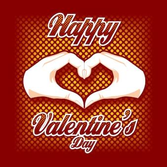 Zwei hände in form eines herzens mit valentinsgruß-tagestext.