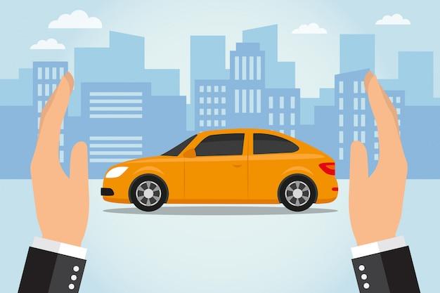 Zwei hände schützen ein auto