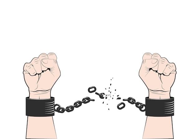 Zwei hände zu faust geballt, ketten oder fessel zerreißend. symbol für revolution und freiheit. freiheitskonzept.