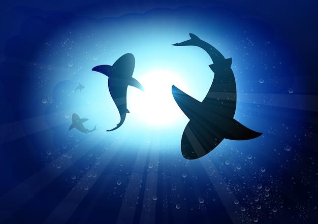 Zwei haie im unterwasserhintergrund