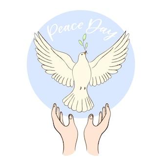 Zwei hand hält weiße taube fliegend