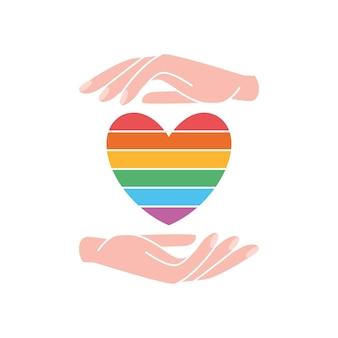 Zwei hand mit regenbogenfarbenem herzen gay pride lgbt-konzept lesbisch homosexuell bisexuell