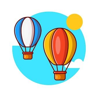 Zwei heißluftballons, die vektorillustrationsdesign fliegen