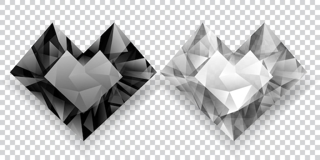 Zwei herzen in schwarz-weiß-farben aus kristallen mit schatten auf transparentem hintergrund