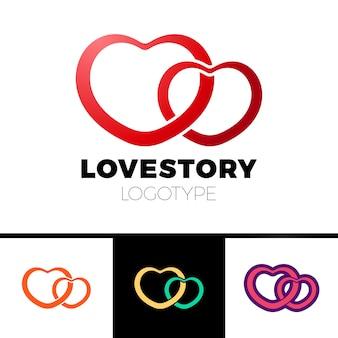 Zwei herzen logo. abstraktes vektorsymbol des liebesfirmenzeichens.
