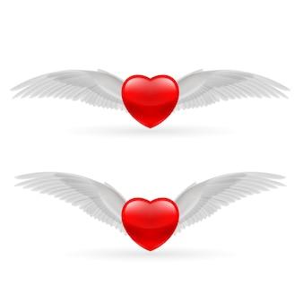 Zwei herzen mit flügeln