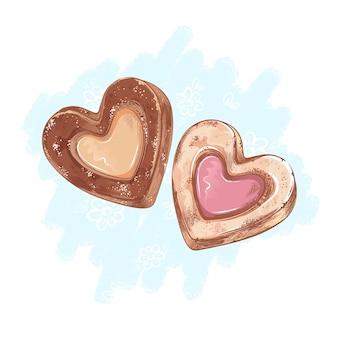 Zwei herzförmige shortbread-kekse. desserts und süßigkeiten. skizzierter handzeichnungsstil.