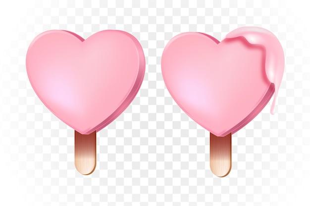 Zwei herzförmige vektorgeschenkeis am stiel oder eiscreme-liebeskonzept auf transparentem hintergrund. romantisches süßes dessert des valentinstagfeiertags auf holzstab. eis am stiel mit rosa glasurliebesillustration
