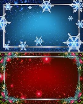 Zwei hintergrundschablonen mit den blauen und roten farben