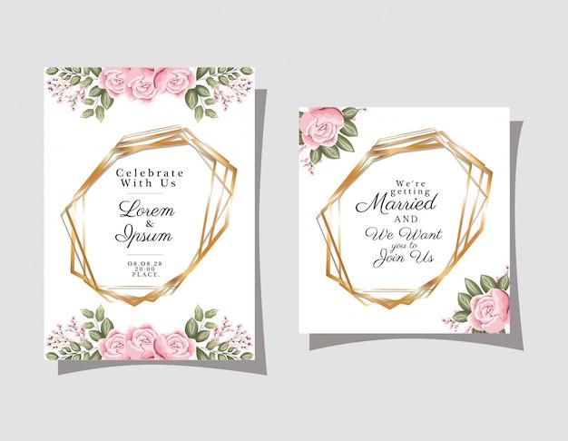 Zwei hochzeitseinladungen mit goldverzierungsrahmen und rosenblumen auf grauem hintergrund
