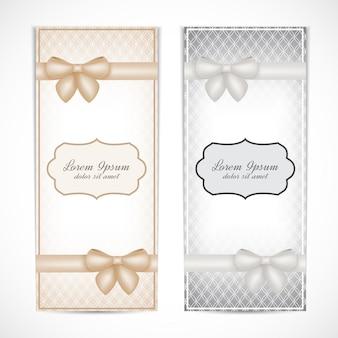 Zwei hochzeitseinladungskarte im weinlesestil für grußkarten, etiketten, einladungen, plakate, abzeichen.