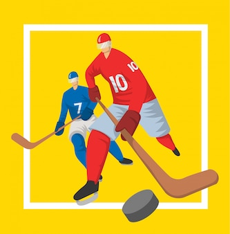 Zwei hockeyspieler im abstrakten stil. illutration, vorlage für sportplakat.