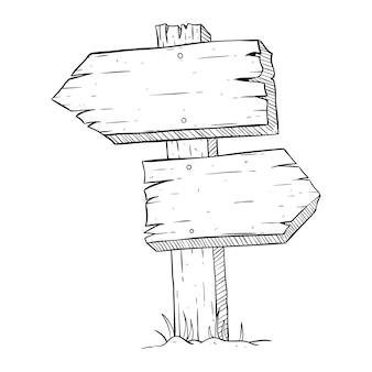 Zwei holzbrett oder billboard mit skizzenhaften oder doodle style