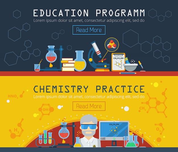 Zwei horizontale banner der chemie