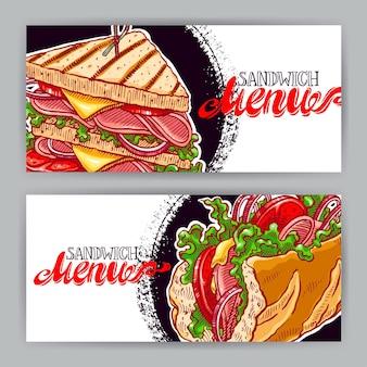 Zwei horizontale banner mit leckeren sandwiches. handgezeichnete illustration