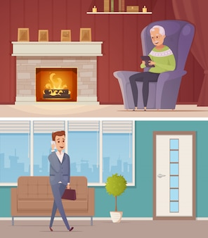 Zwei horizontale fahnen mit dem alten mann im hauptinnenraum, der in der tablette schauen und junger mann, die auf mobi sprechen