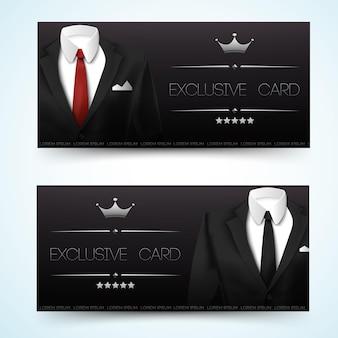 Zwei horizontale stilvolle banner mit männlichem anzug und exklusiver kartenüberschrift