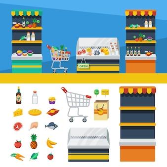 Zwei horizontale supermarktfahnen