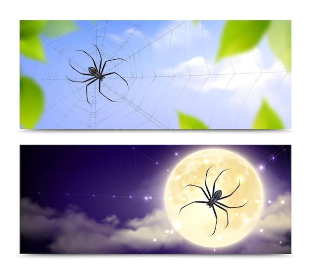 Zwei horizontale und realistische schwarze spinnenbanner, die mit spinnen gesetzt werden, die tag und nacht spinnweben weben