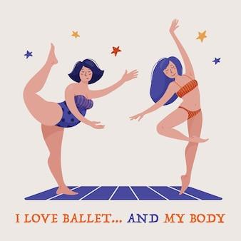 Zwei hübsche frauen, ballerinas in badeanzügen, eine schlanke andere mollig, tanzendes ballett, körperbeherrschung und selbstakzeptanz